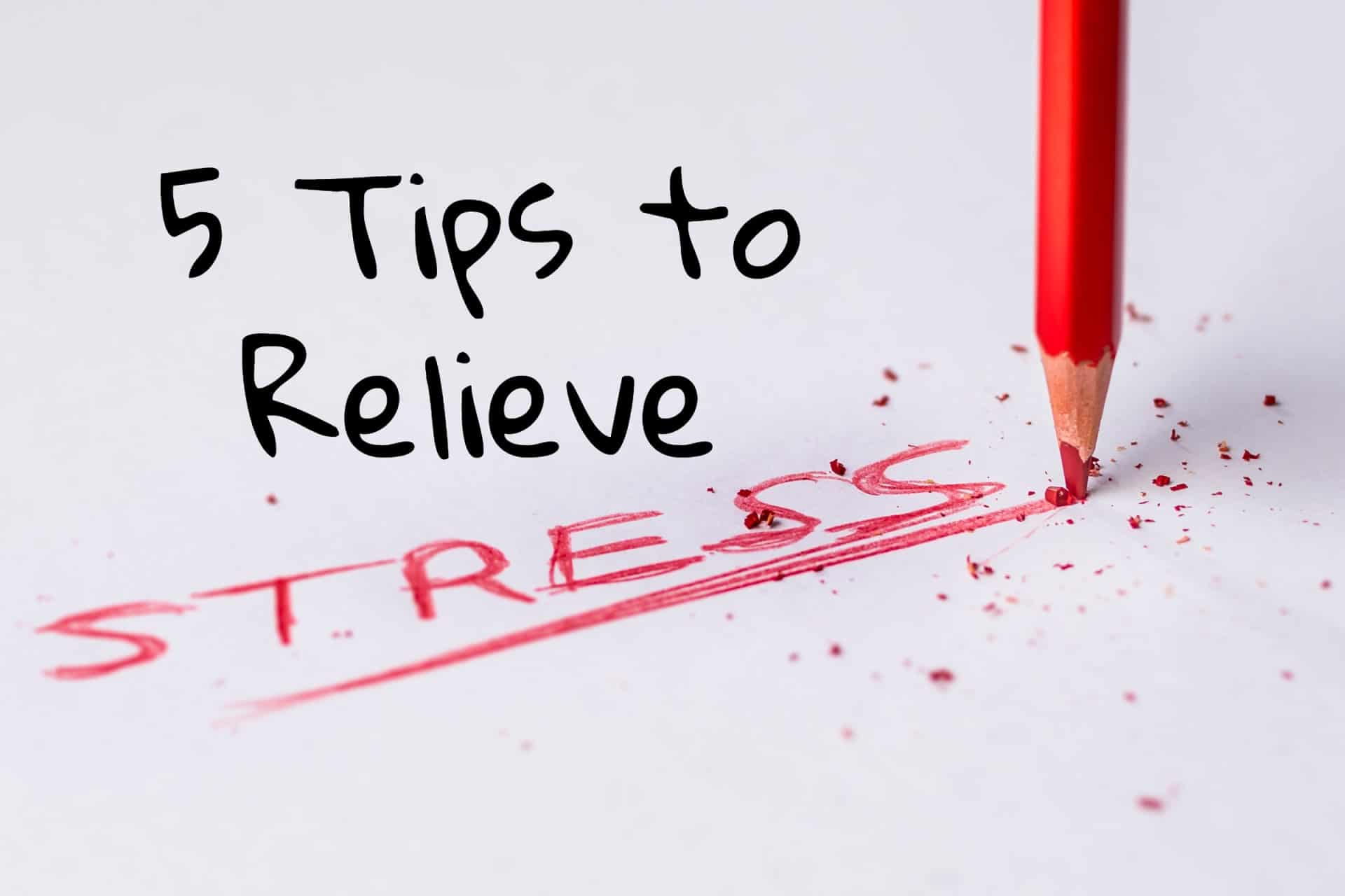 """A red pencil writing the word """"stress"""" on a piece of paper"""