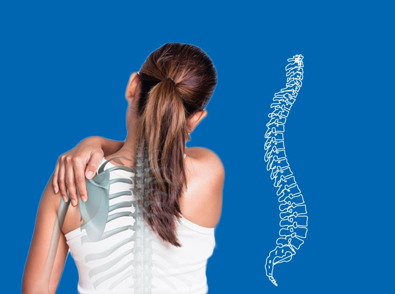 Image of Woman's Back with Diagram of Spine Suffering from Back Pain - Freedom Health Centers